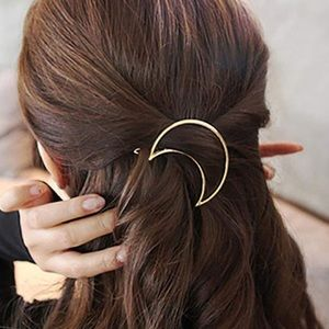 Gold Metal Moon Crescent Hair Clip Accessory